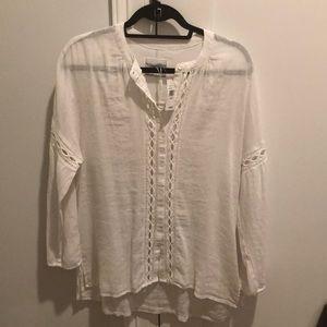 NWT Rails white button down linen blouse size XS